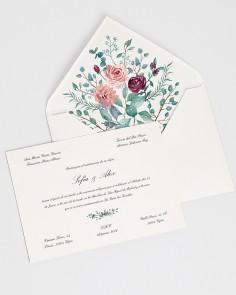 """Cartão """"Eucalipto e Rosas I"""""""