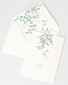 Invitación de boda floral Hiedra y Brezo con sobre forrado blanco verjurado